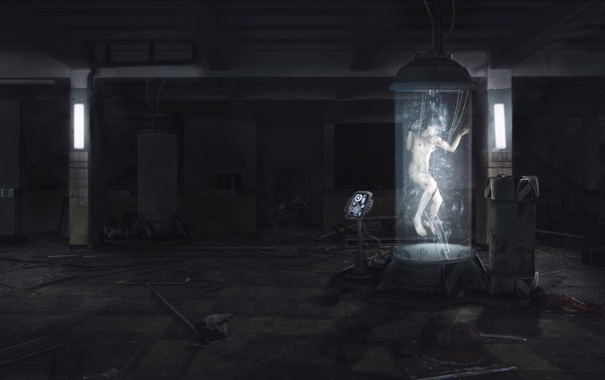 Фото обои девушка, интерьер, капсула, пульт, пробирка