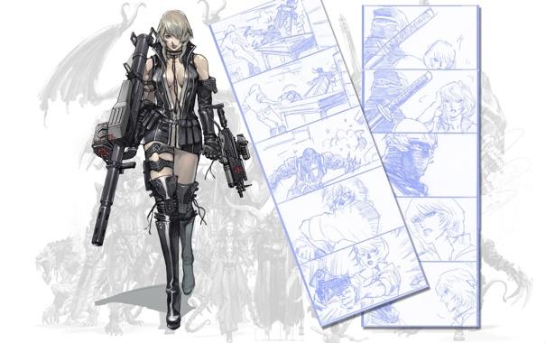 Фото обои оружие, ч/б, girl, gun, ninja gaiden