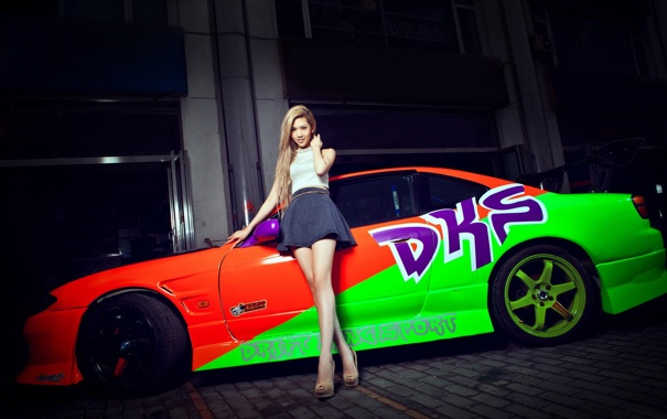 Фото обои девушка, S15, Silvia, Nissan, азиатка