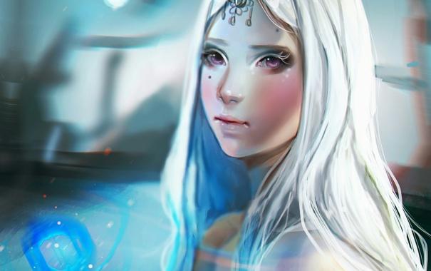 Фото обои глаза, девушка, лицо, волосы, белые, art, talitapersi