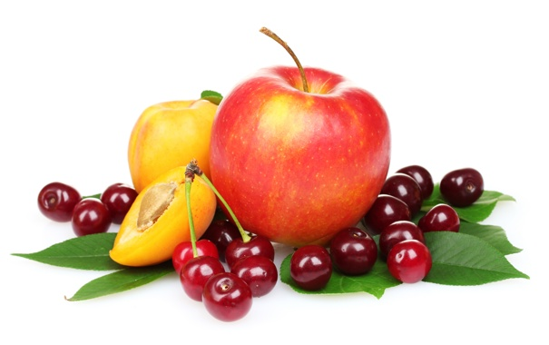 Фото обои яблоко, абрикос, черешни