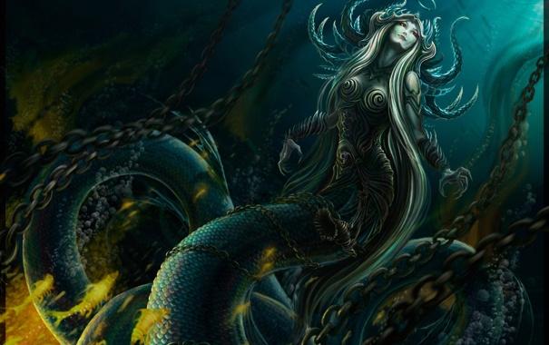 Фото обои девушка, змея, арт, хвост, цепи