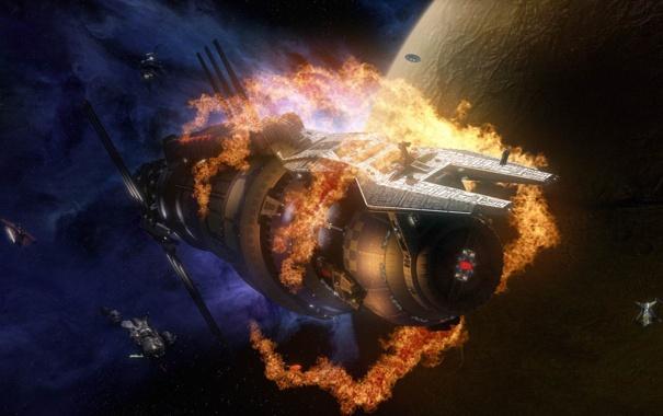 Фото обои космос, взрыв, пожар, планета, станция, по моему Вавилон 5