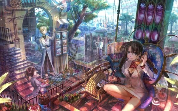 Фото обои девушка, дерево, работа, аниме, косички