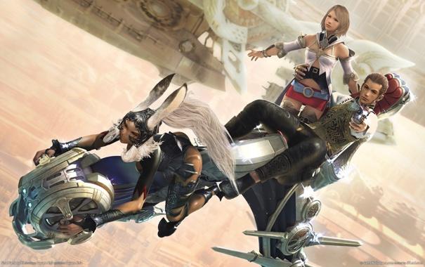 Фото обои оружие, девушки, кролик, мотоцикл, парень, уши, final fantasy