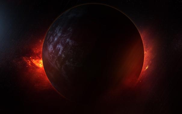 Фото обои космос, звезды, сияние, планета