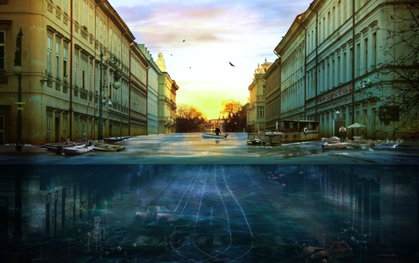 Фото обои вода, город, настроение, ситуация, утро, A new morning
