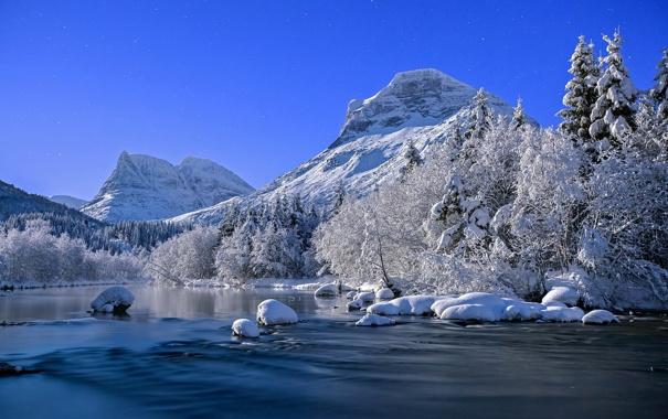 Фото обои природа, река, зима