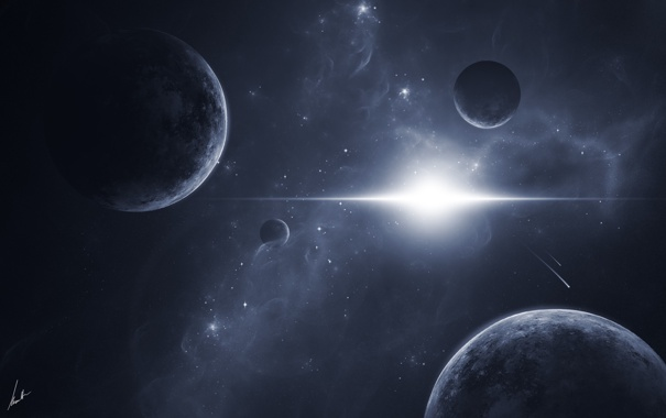 Фото обои light, stars, planets, satellites, komets
