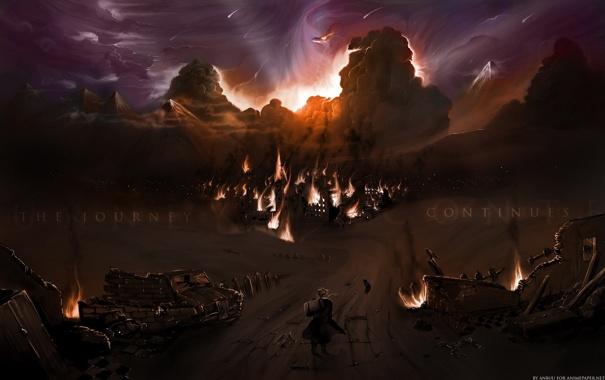 Фото обои ночь, пожар, путешественник, руины, Цельнометаллический алхимик