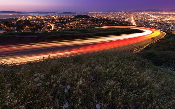 Фото обои дорога, город, огни, дома, Сан-Франциско, San Francisco, Twin Peaks