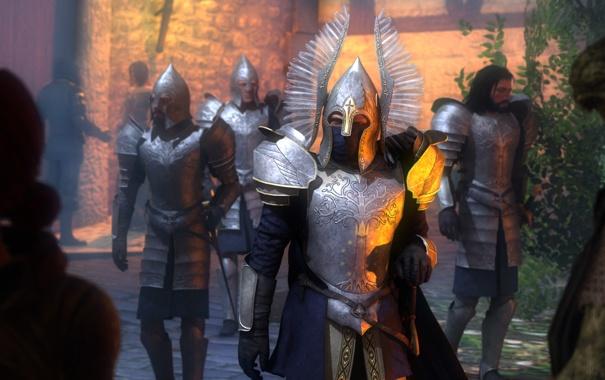 Фото обои солдаты, шлем, броня, Lord of the Rings, Soldiers of Gondor