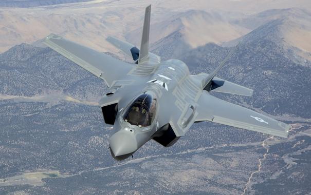 Фото обои полет, земля, Lightning II, F-35A