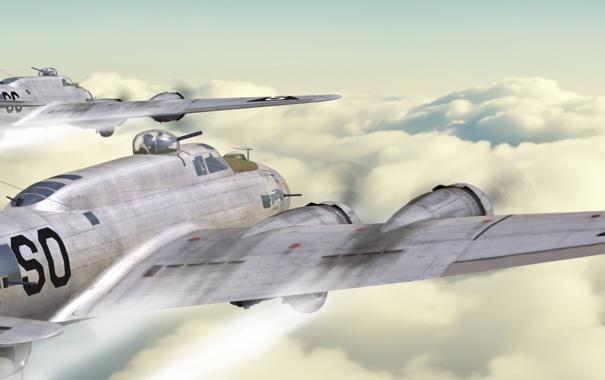 Фото обои самолеты, бомбардировщики, art, над облаками, antonis karidis, b-17 flying fortress