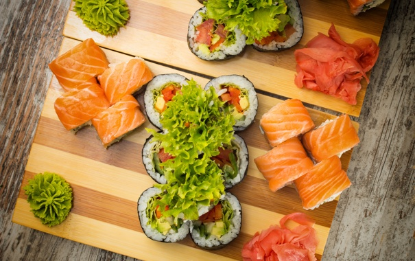 Фото обои rolls, sushi, суши, салат, роллы, японская кухня, имбирь