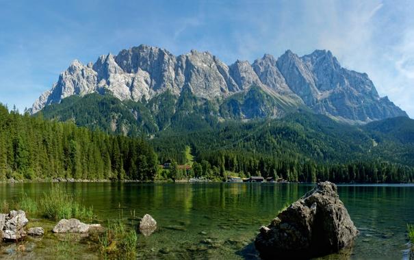 Фото обои зелень, деревья, горы, природа, озеро, река, фото
