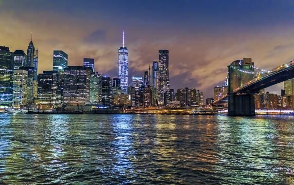 Фото обои мост, огни, Нью-Йорк, панорама, Манхэттен, небоскрёбы, New York City