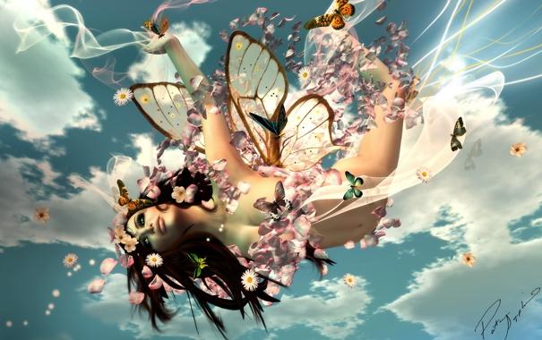Фото обои девушка, бабочки, цветы, рендеринг