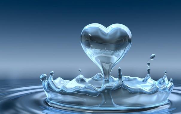 Фото обои вода, капля, сердца, форма