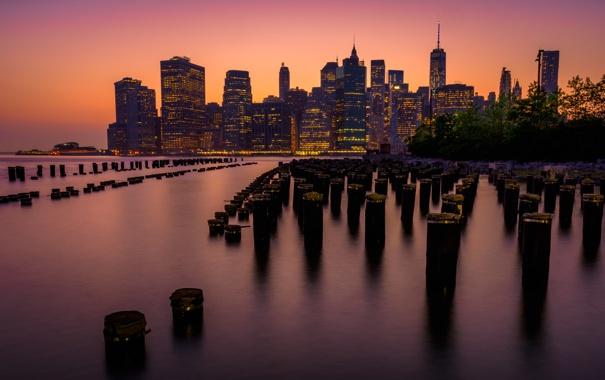Фото обои город, Нью-Йорк, вечер, USA, США, Манхэттен, Manhattan