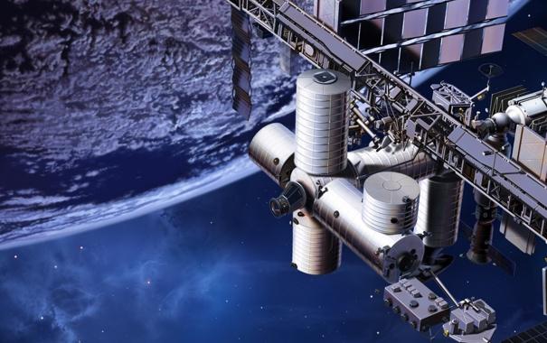 Фото обои планета, станция, орбита, МКС