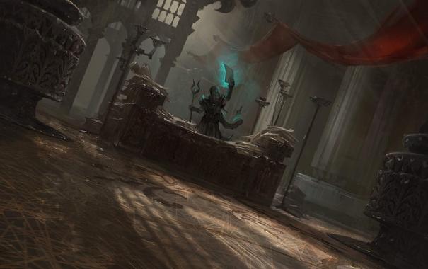 Фото обои стол, магия, человек, арт, храм, маг, посох