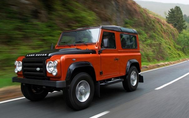 Фото обои Дорога, Скорость, Land Rover, Автомобиль, Defender
