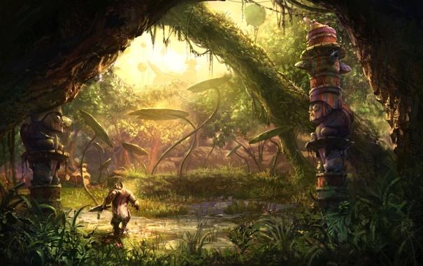 Фото обои листья, вода, болото, монстр, статуя, заброшенность, грот