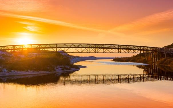 Фото обои закат, мост, озеро, река, оранжевое небо