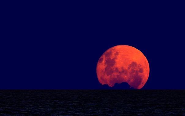 Фото обои океан, луна, горизонт, полнолуние, Argentina, Buenos Aires