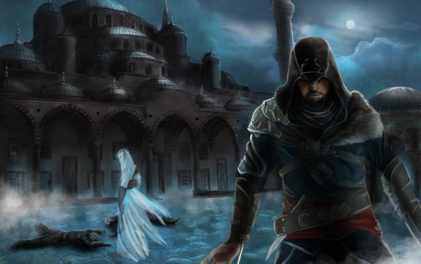 Фото обои ночь, город, мечеть, Assassins Creed, альтаир, Revelations, эцио