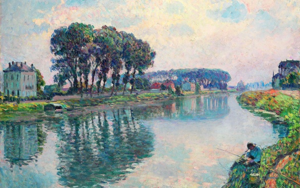 Фото обои пейзаж, река, картина, рыбак, Henri Lebasque, Fisher at the Bank of the Marne at Lagny
