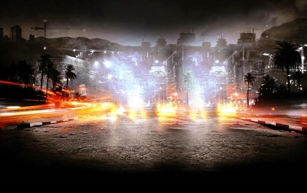 Фото обои горы, пальмы, улица, здания, Battlefield 3: Back to Karkand