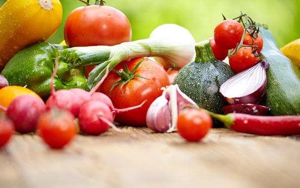 Фото обои баклажаны, перец, фрукты, овощи, помидоры, кабачки, редис