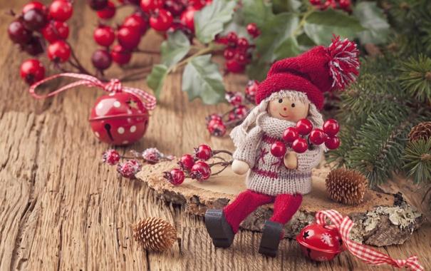 Фото обои украшения, игрушки, куклы, Новый год, new year, вишни, toys