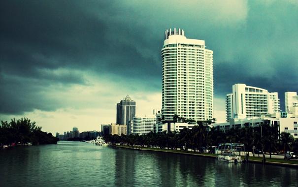 Фото обои небо, тучи, Майами, вечер, Флорида, Miami, florida