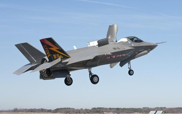 Фото обои небо, посадка, аэродром, F-35