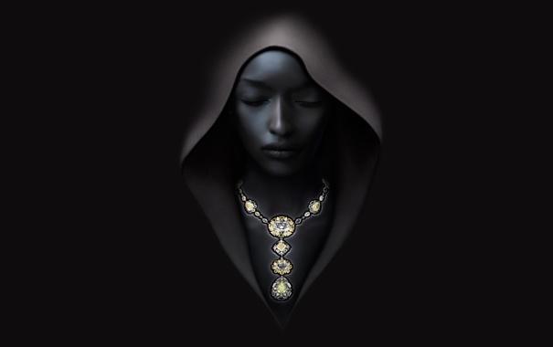 Фото обои девушка, темный, ожерелье, капюшон, балахон