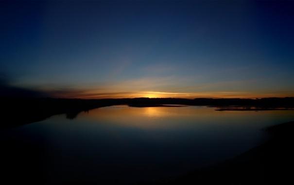 Фото обои небо, пейзаж, закат, природа, река, фон, обои