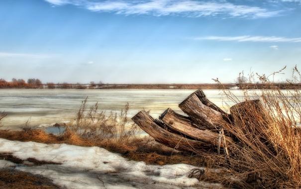 Фото обои снег, пейзаж, природа, река, весна