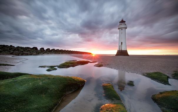 Фото обои пейзаж, закат, маяк