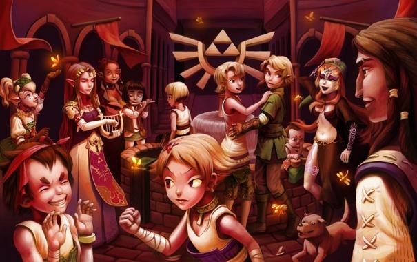 Фото обои музыка, танцы, пир, фестиваль, The Legend of Zelda, Link, пирушка