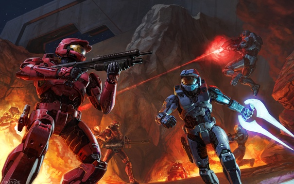 Фото обои оружие, скалы, огонь, бой, солдаты, Halo, броня