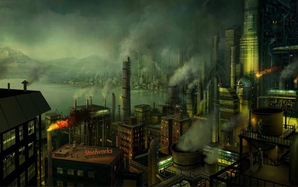 Фото обои трубы, город, дым, рабочие, гавань, Завод, фабрика