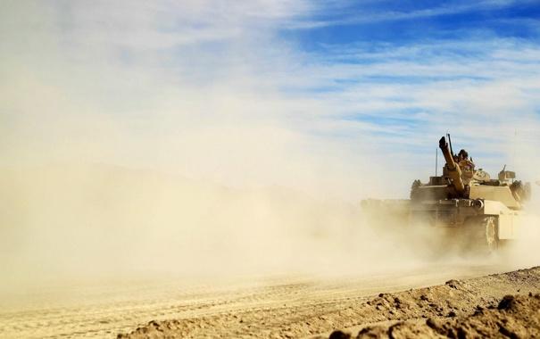 Фото обои оружие, пыль, танк