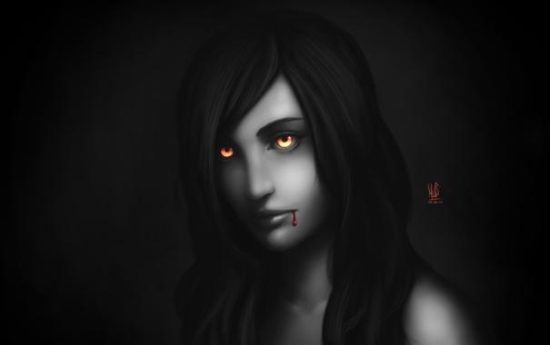 Фото обои глаза, девушка, кровь, арт, вампир, монохромное