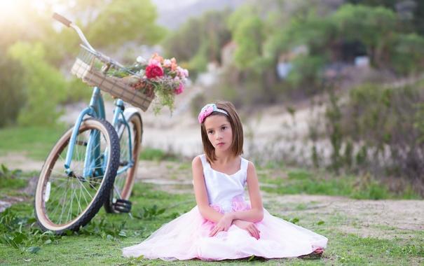 Фото обои цветы, велосипед, девочка