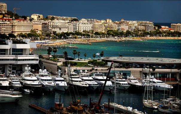 Фото обои побережье, Франция, дома, яхты, катера, причалы, море.пляж