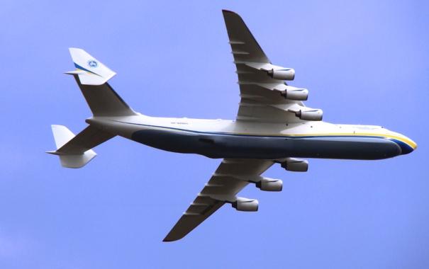 Фото обои Небо, Самолет, Полет, Крылья, Мрия, Ан-225, Грузовой