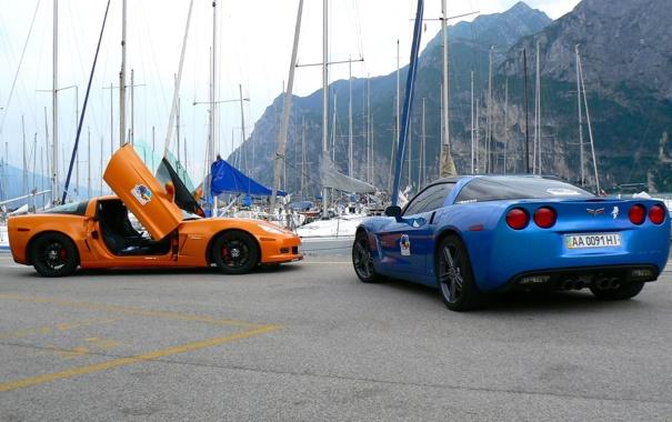Фото обои corvette, chevrolet, blue, orange